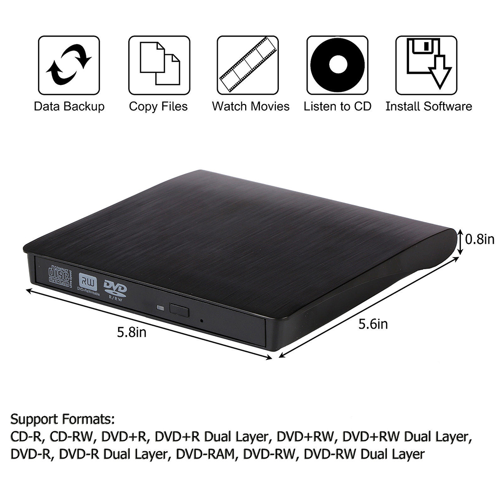 2018 Slim External USB 3.0 DVD RW CD Writer Drive Burner Reader Player For Laptop PC фото