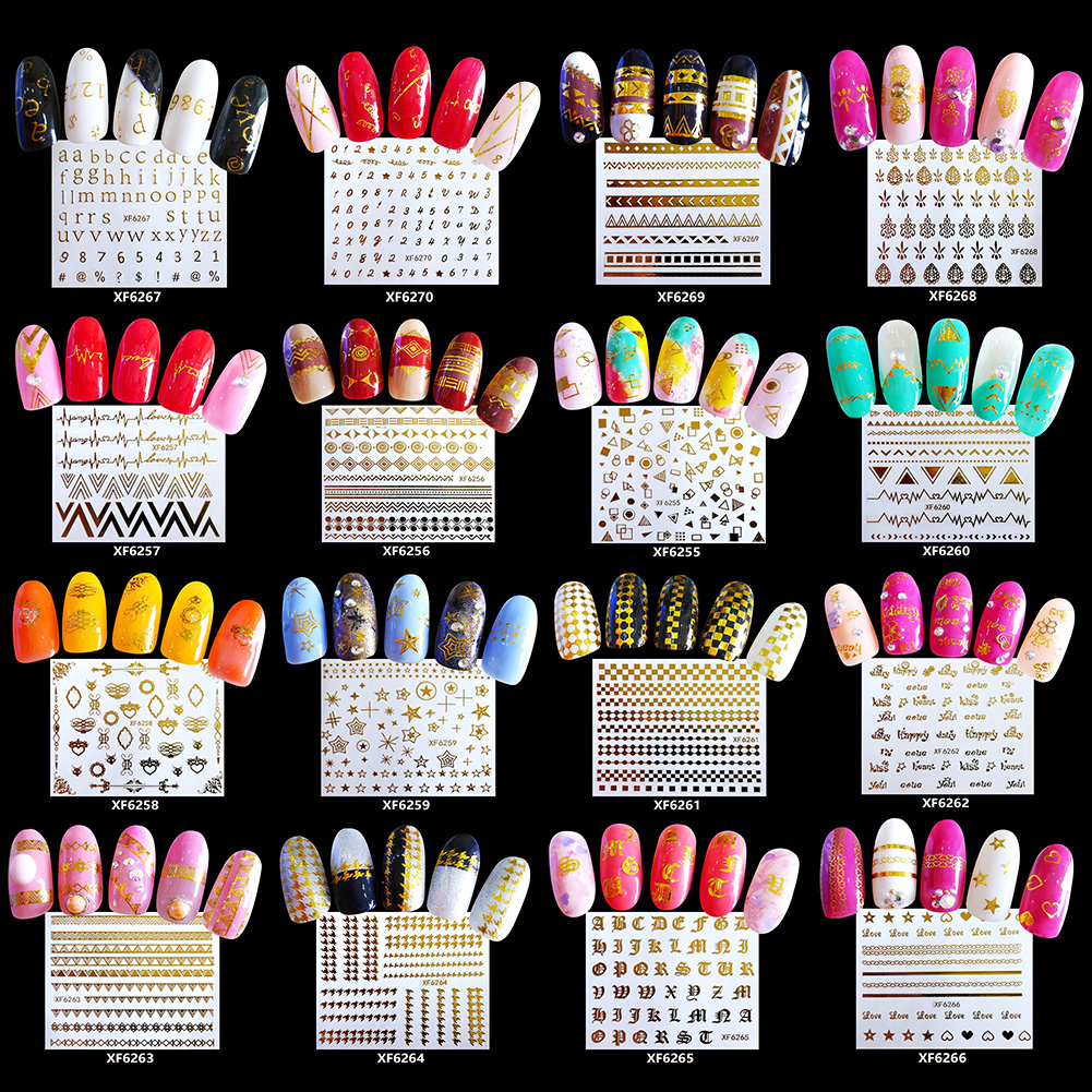 1 Sheet 3D 48 Pattern Women Laser Nail Art Stickers Nail Foil Decal Decor Manicures Tool фото