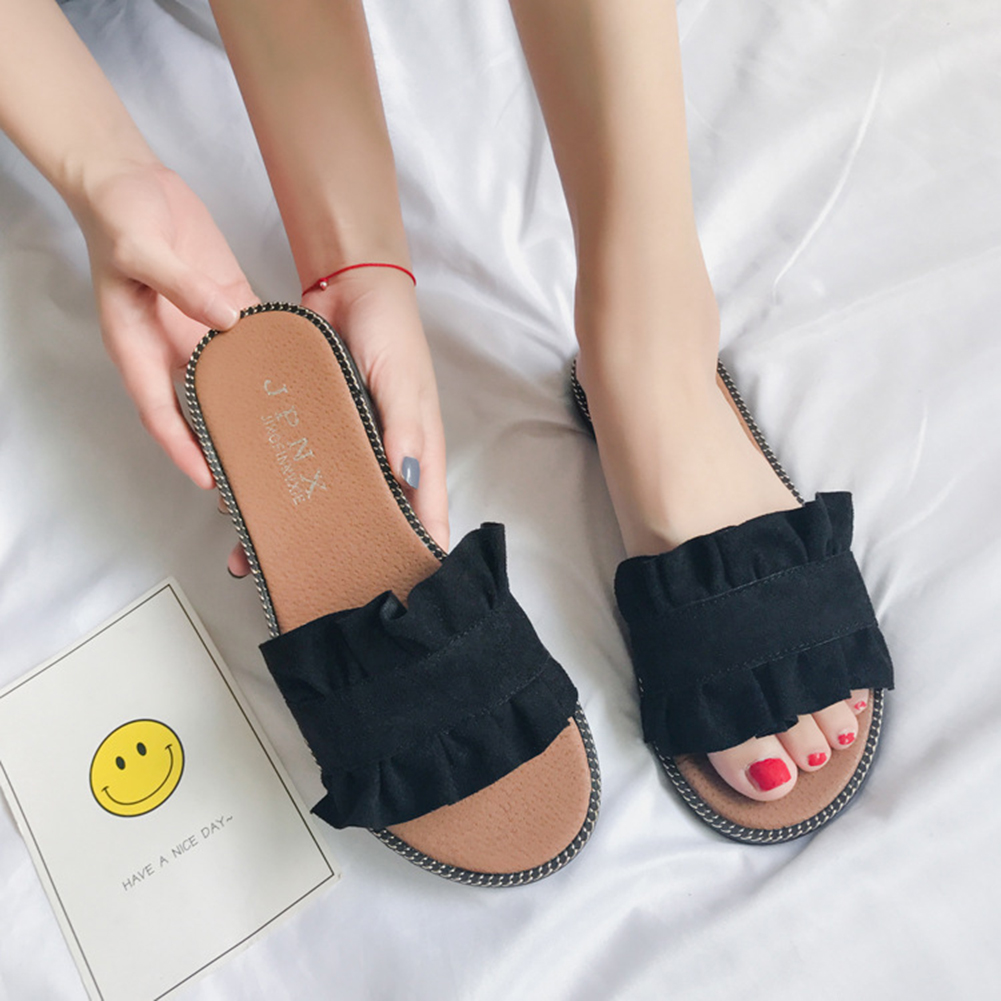 Summer New Simple Korean Style Fashion Girl's Women's Outer Wear Flat Sandals Solid Color Beach Shoes Flip Flop фото