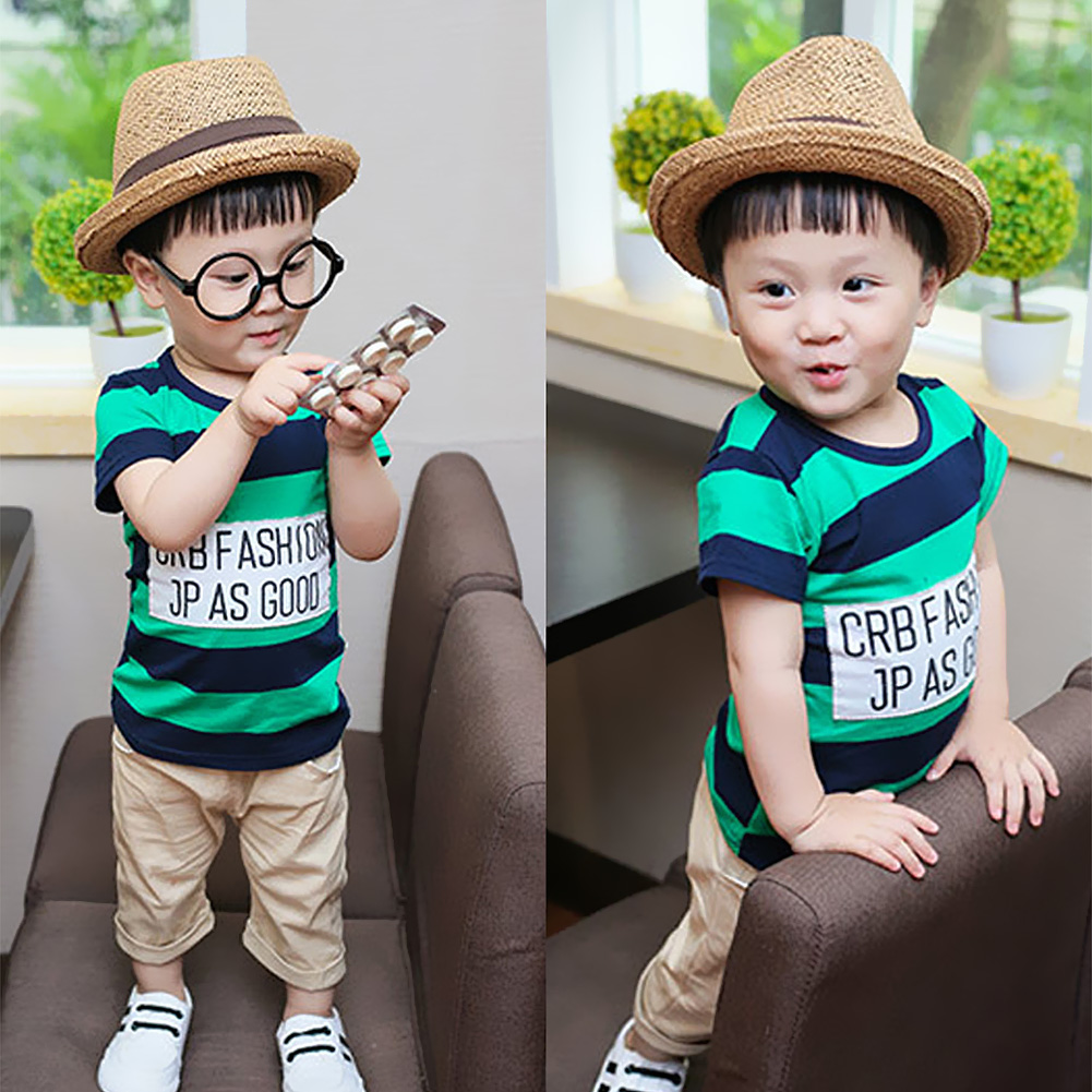 Summer Infant Baby Boy Cartoon Clothes Sets Kids Tops Boy Clothing Suit фото