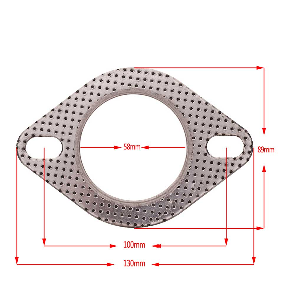 1Pcs 2-Bolt Hole 2.3'' inch High Temperature Exhaust Gasket Turbo Flange 58mm Reinforced фото