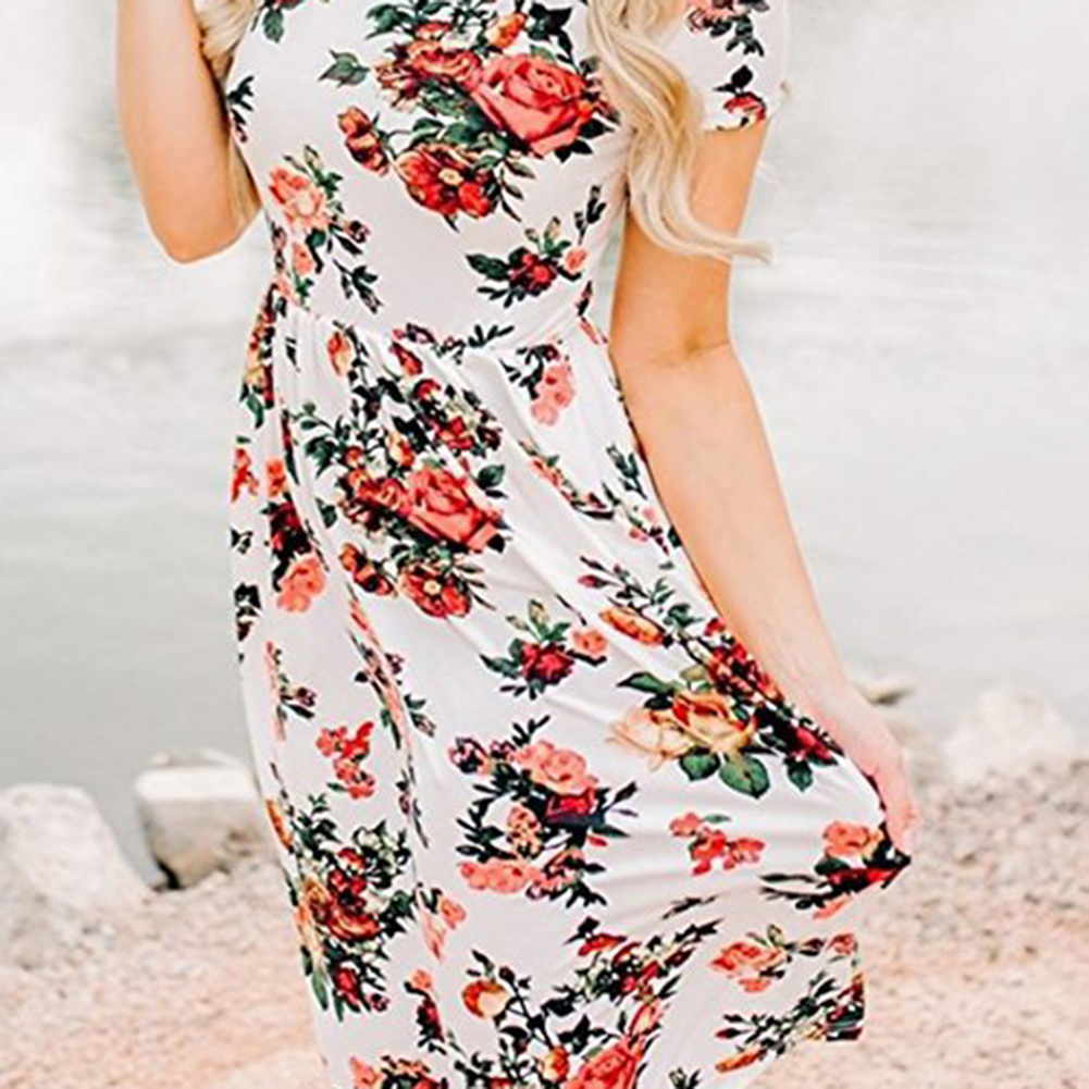 Women Printed Floral Short Sleeve Tunic Vintage Midi Casual Dress with Pockets фото