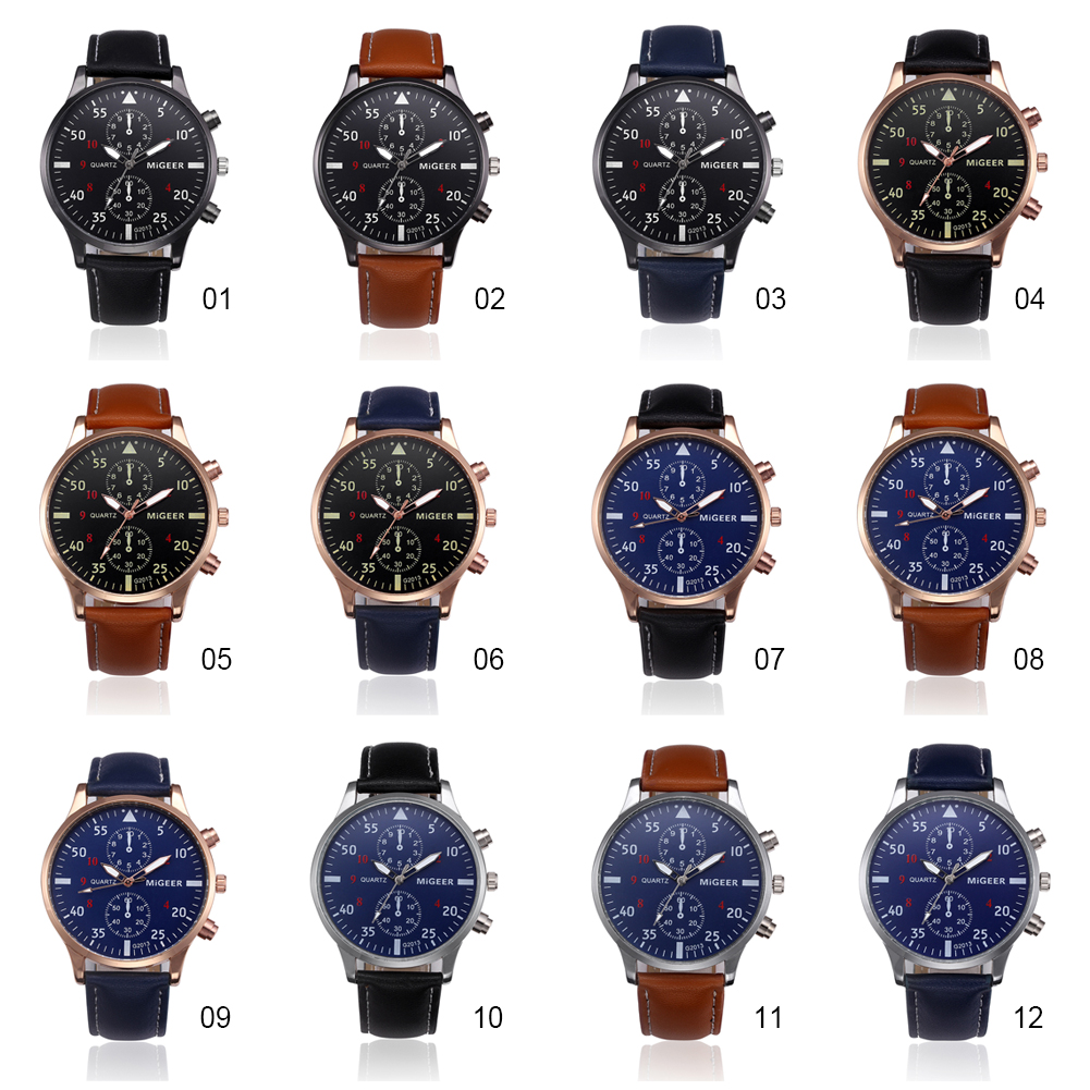 MIGEER Military Business Watches Men Brand Luxury Sport Digital Vintage Leather Band Alloy Quartz Wrist Watch фото