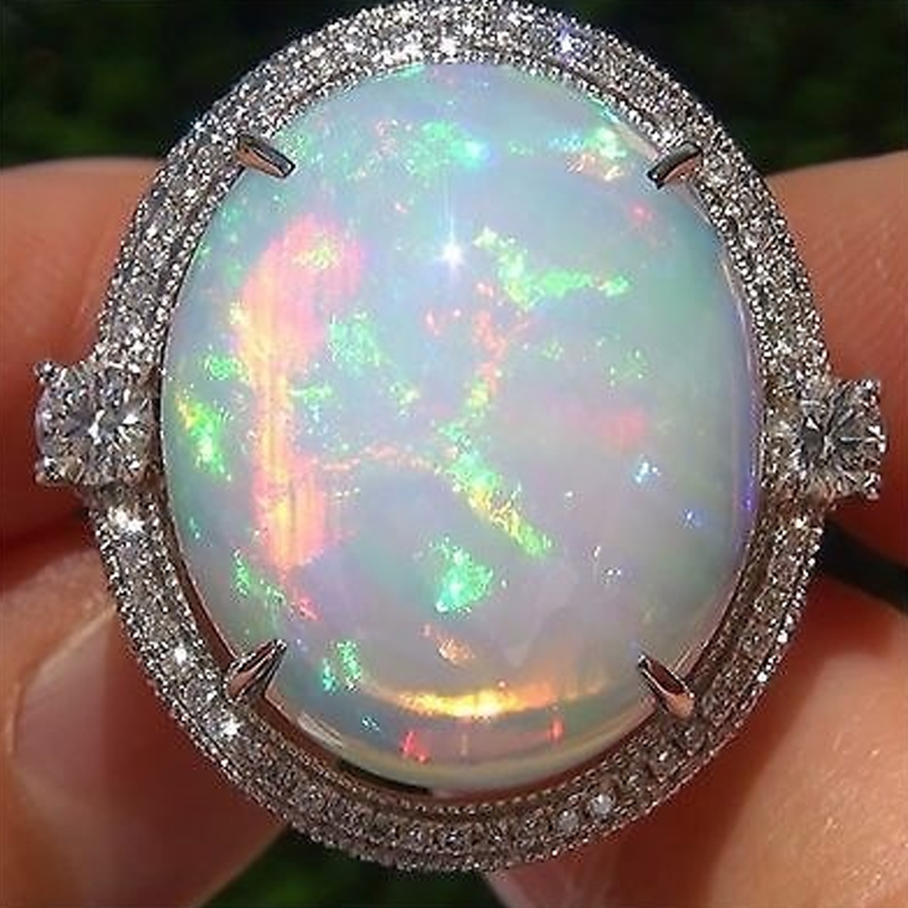 925 Silver Ring Woman Man White Fire Opal Moon Stone Turquoise Wedding Engagement Ring Size6-10 фото
