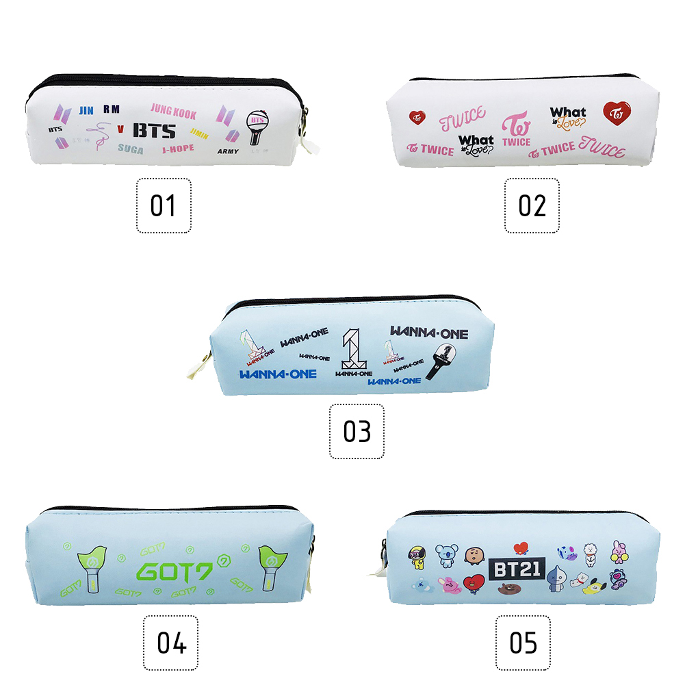 KPOP BTS GOT7 WANNAONE TWICE BT21 Pencil Case Fans Stationery Support Gift фото