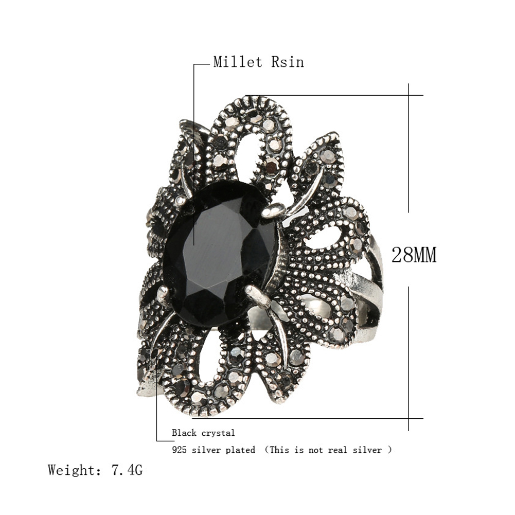 Vintage Hollow Flower Ringfor Women Black Gems Crystal Wedding Party Engagement Rings Plated AlloyFinger Jewelry Gift фото