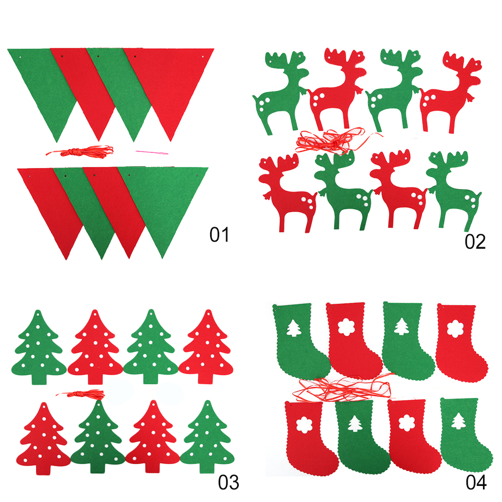 Christmas Nonwoven Fabric Hanging Banner Triangle Elk Tree Socks Festival Supplies фото