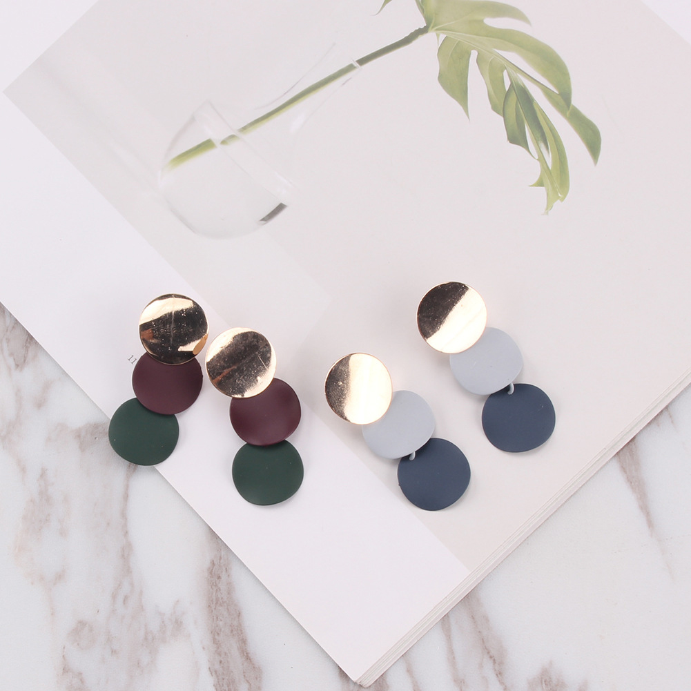 Pure Color Circle Earrings Stoving Varnish Ear Stud Simple Fashion Jewelry Gifts For Women фото