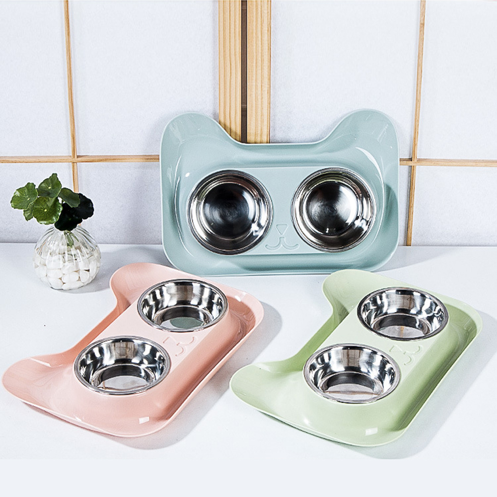 Double Stainless Steel Dog Cat Bowls with Non-spill & Non-skid Design, for Pet Food and Water Elevated Feeder фото