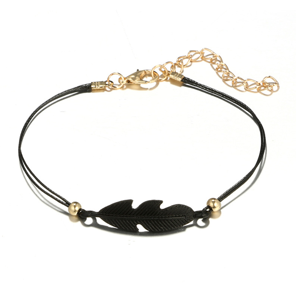 4pcs/set Simple Black Bracelets Hollow Out Lotus Flower Small Ball Leaf Heart Shape Bracelet Fashion Jewelry Gifts For Women Girls фото