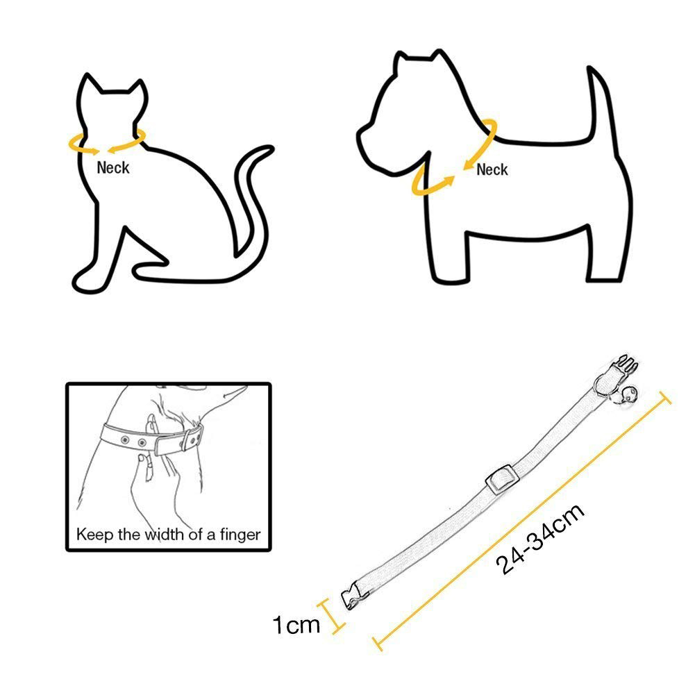 Rainbow Adjustable Cat Collars with Bell, Quick Release Safety Buckle for Cat Kitty Puppy Rabbit Small Animals фото