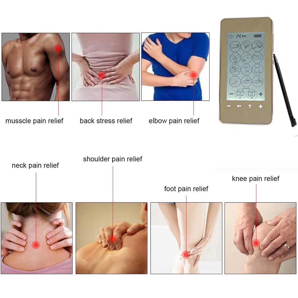 12 Mode EMS Tens Unit LED Screen Smart Health Electronic Acupuncture Massager Therapy Device Pulse Massager Gold фото