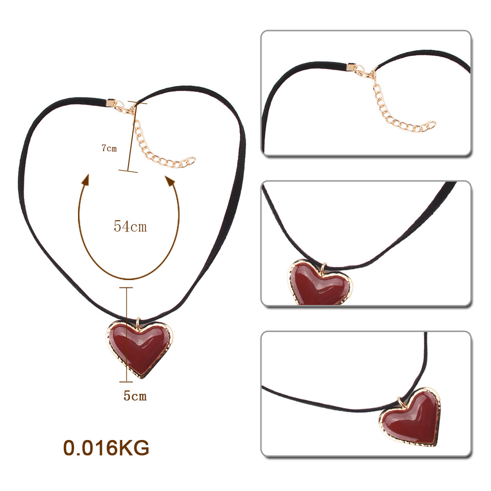 Fashion Gem Necklace Heart Pendant Necklace Gold Silver Rhinestone Choker Necklace Simple Jewelry Gift For Women Girls фото