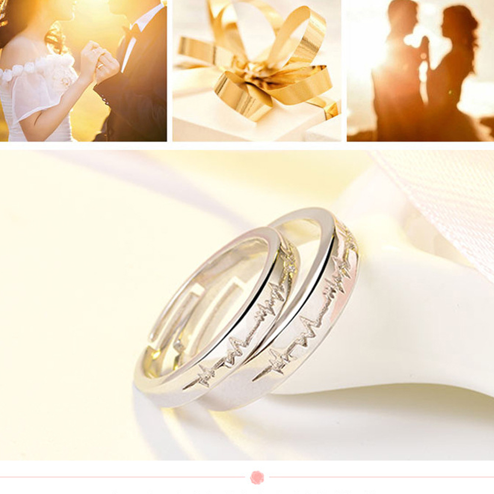 ECG Couple Open Ring 925 Silver Plated Heartbeat Adjustable Ring Valentine's Day Gift Engagement Ring For Men Women Lover фото