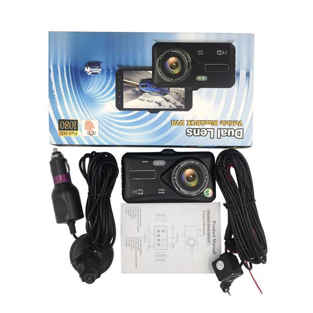 4Inch 1080P Car DVR Dual Lens Touch Ccreen Dash Cam Video Camera Recorder Night Vision фото
