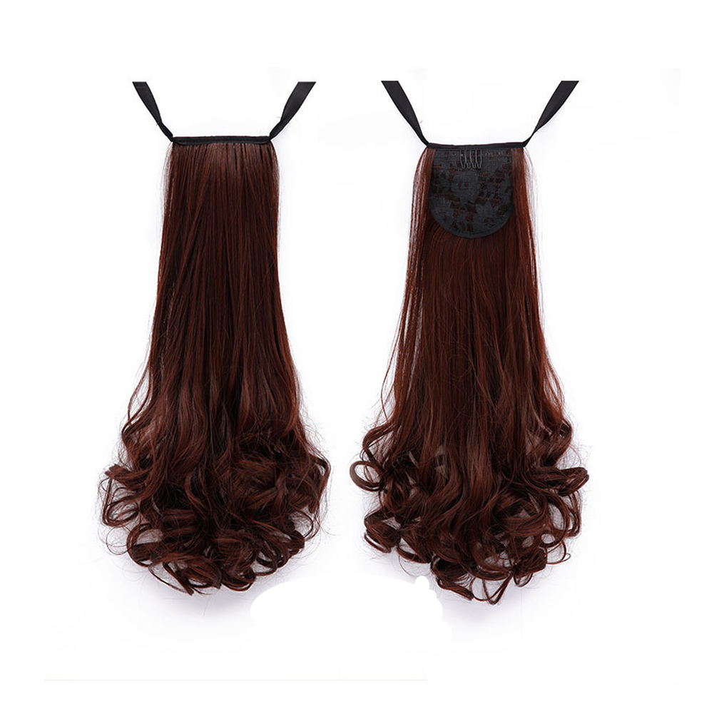 45cm Women Long Curly Ponytail Light Brown Drawstring Clip In Ponytail Hair Extensions фото