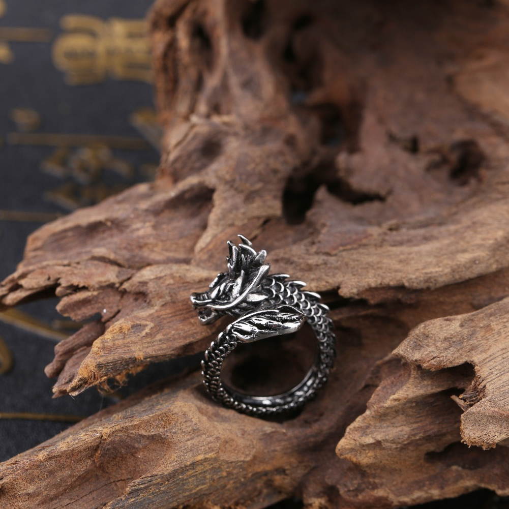 Fashion Dragon Shape Ring Punk Stainless Steel Open Ring Men's Adjustable Ring Great Jewelry Gift For Lover фото