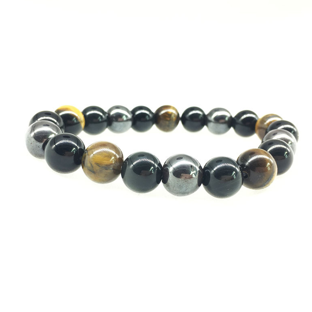 10mm Natural Tiger Eye Stone Bracelet Obsidian Magnetic Stone Mixed Energy Stone Bracelet Handmade Jewelry Gift For Men Women Couples фото
