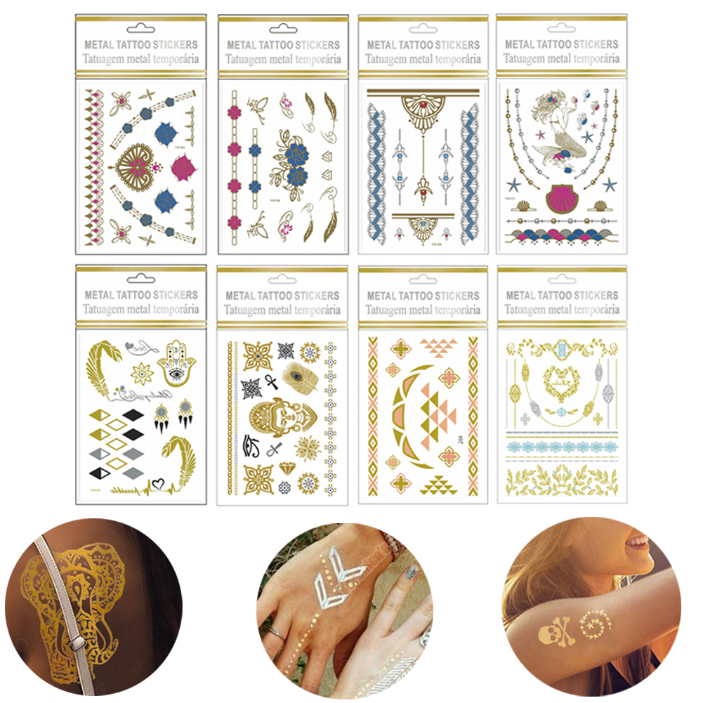 Fashion Long Lasting Back Tattoo Waterproof Chest Metal Color Decoration Tattoo Stickers фото