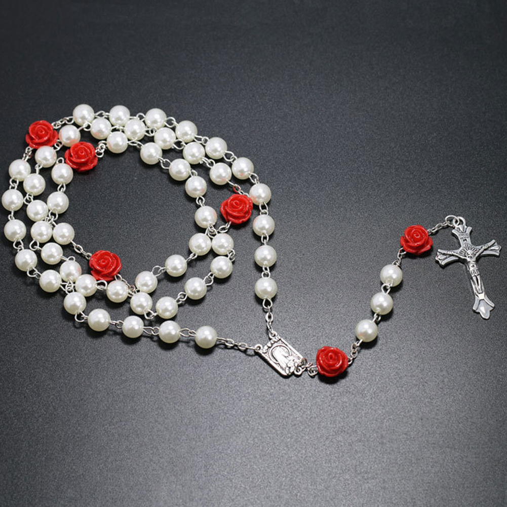 Christian Rose Beads Cross INRI Crucifix Pendant Necklaces Bracelet Good Gifts for Mom on Mother's Day фото