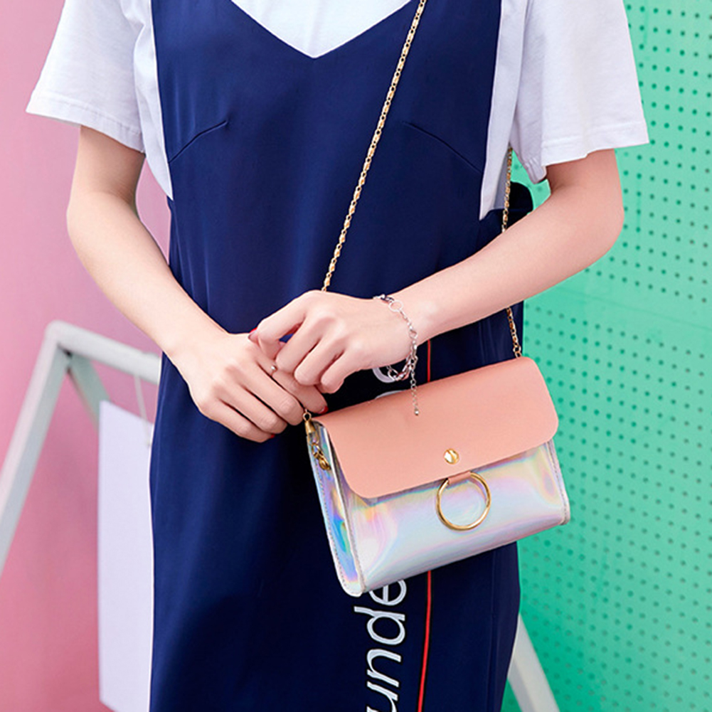 Laser Crossbody Bag For Women Chain Mini Shoulder Bag Ring Circle Small Messenger Bag Womens Handbags and Purses Evening Clutch bags фото