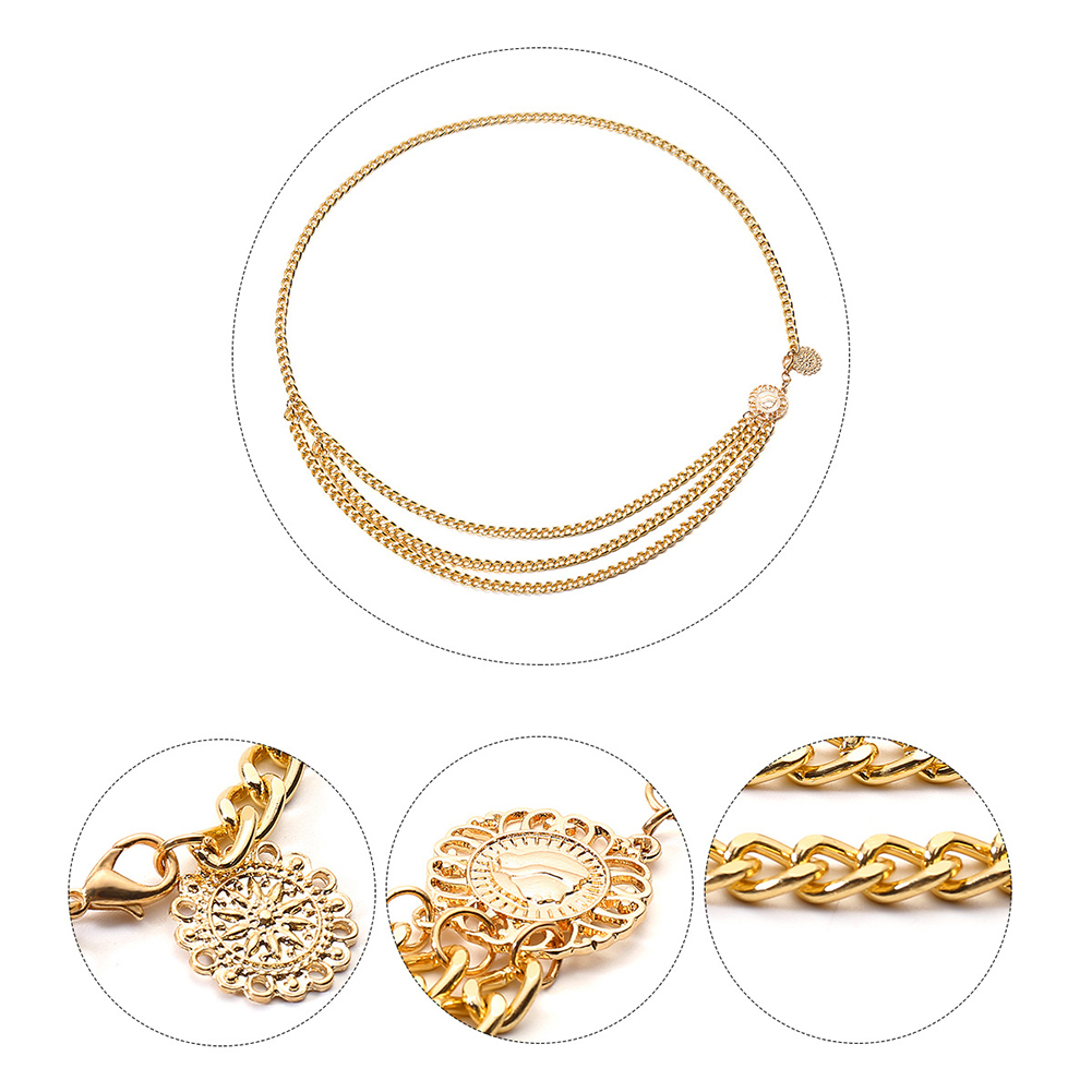 Retro Gold Belts for Women Waistbands Narrow Metal Chain Chunky Fringes All-match Multilayer Long Tassel for Party Jewelry Dress Waist Chain Coin Pendant Belts фото