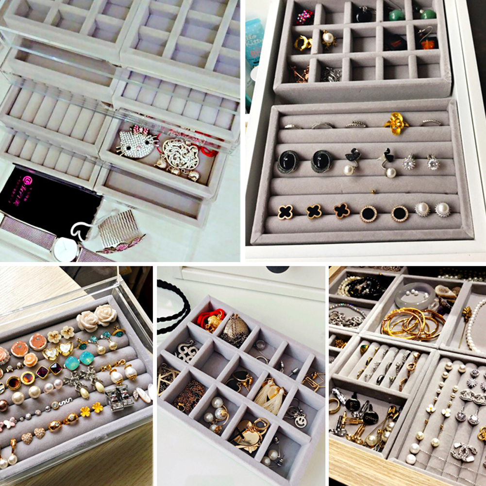 New Drawer DIY Jewelry Storage Tray Ring Bracelet Gift Box Jewellery Organizer Earring Holder Small Size Fit Most Room Space фото