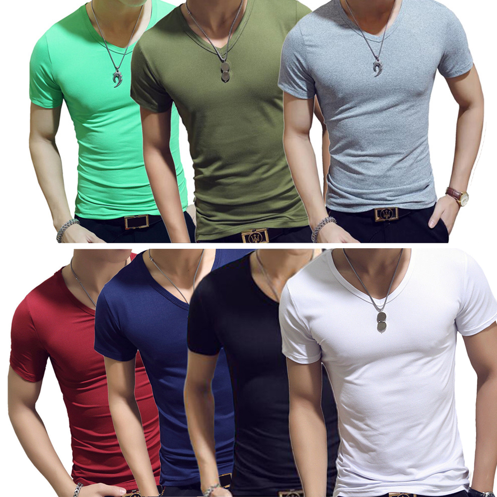 Men Gym Tight Tops Male Fitness Short Sleeve Slim Fit T-Shirts Mens Summer White V-Neck Casual Shirts Plus Size фото
