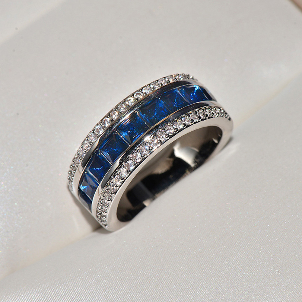 Men's Women's Diamonds Ring Created Blue Sapphire Engagement 925 Sterling Silver Ring For Women фото