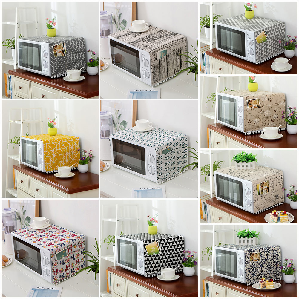 Microwave Oven Cover Oil Dust Cover with Storage Pockets Linen Multi-function Kitchen Storage Bag Accessories Supplies Home Decoration фото