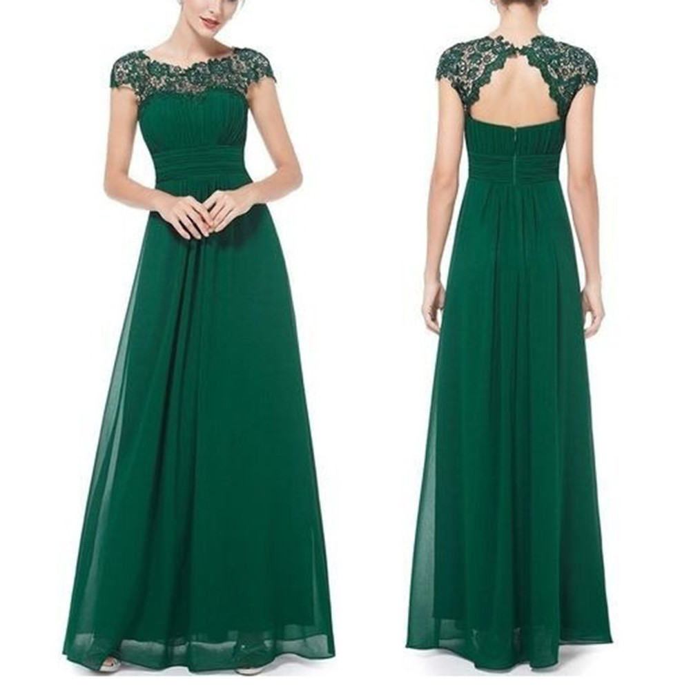 Elegant Evening Dresses with Lace Female Open Back Ruched Bust Cap Sleeve Long Floor-Sweeping A-line Skirt фото