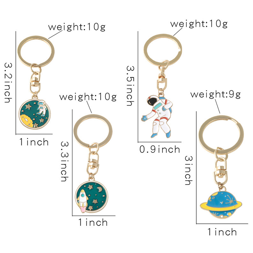 Fashion Creative Planet Rocket Keychain Metal Key Ring Universe Outer Space Travel Keyring For Children Space Lovers Jewelry Gift фото