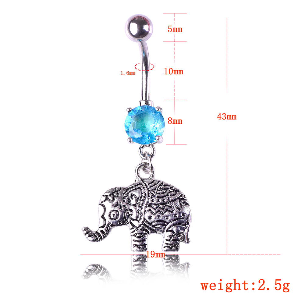Vintage Navels Silver Color Elephant Navel stud Belly Button Rings Body Piercing Jewelry фото