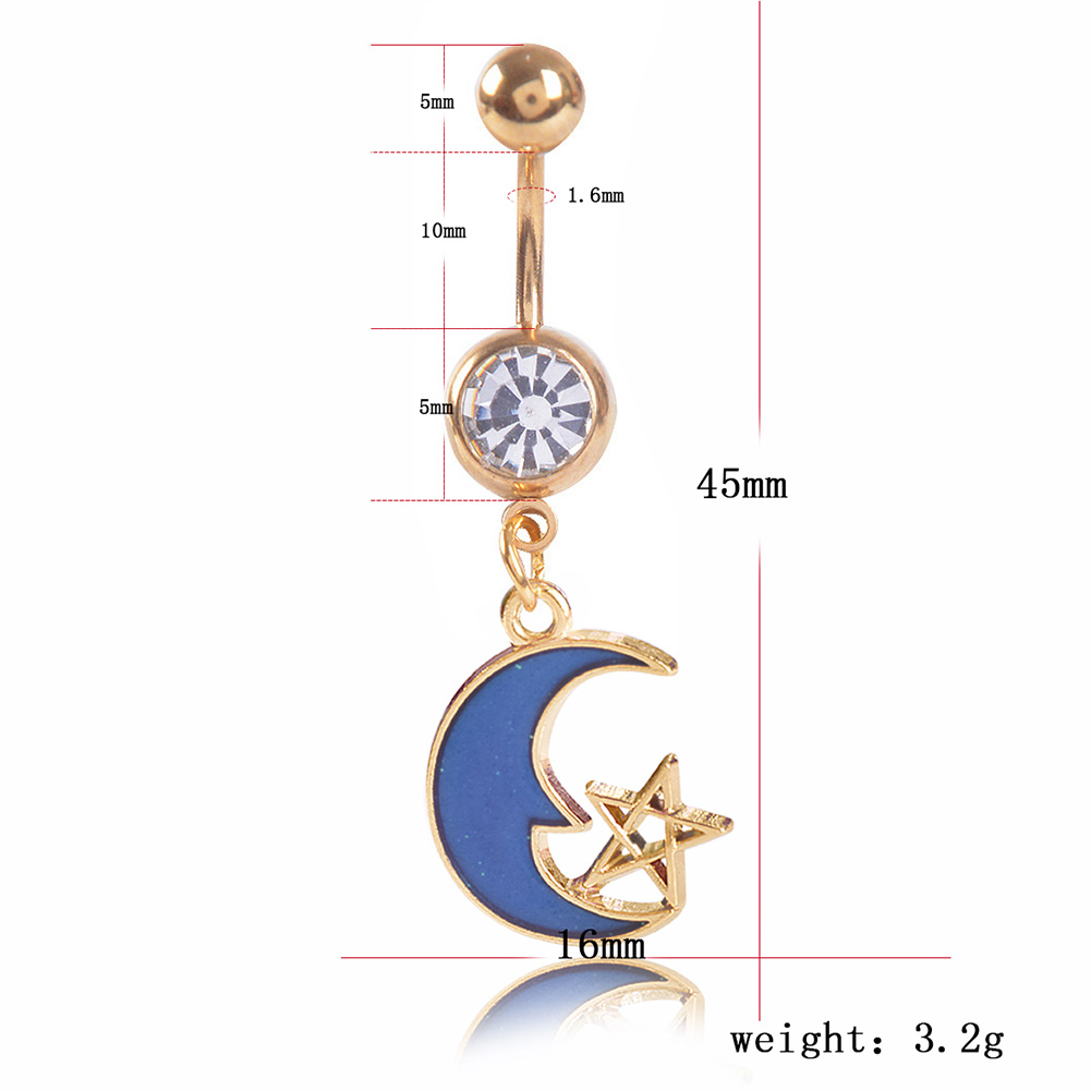 Summer Bikini Belly Button Rings Rose Gold Moon Star Navel Piercing Ring Body Jewelry фото