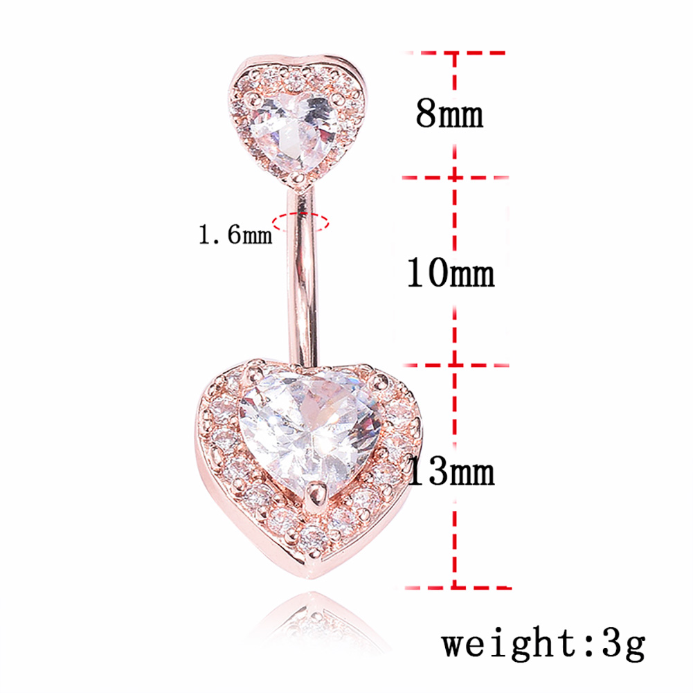 Fashion Double Heart Shape Sexy Belly Button Rose Gold Silver Rings Belly Piercing Zircon Body Jewelry Navel Piercing Rings фото