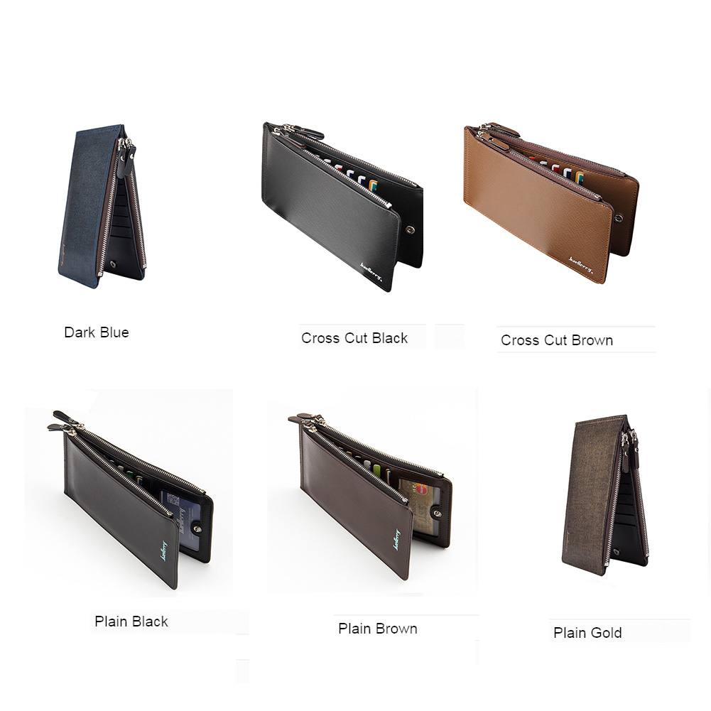 Baellerry Men High Quality PU Leather ID Cards Case Female Concertine Fold Extendable Design Credit Long Card Holder фото