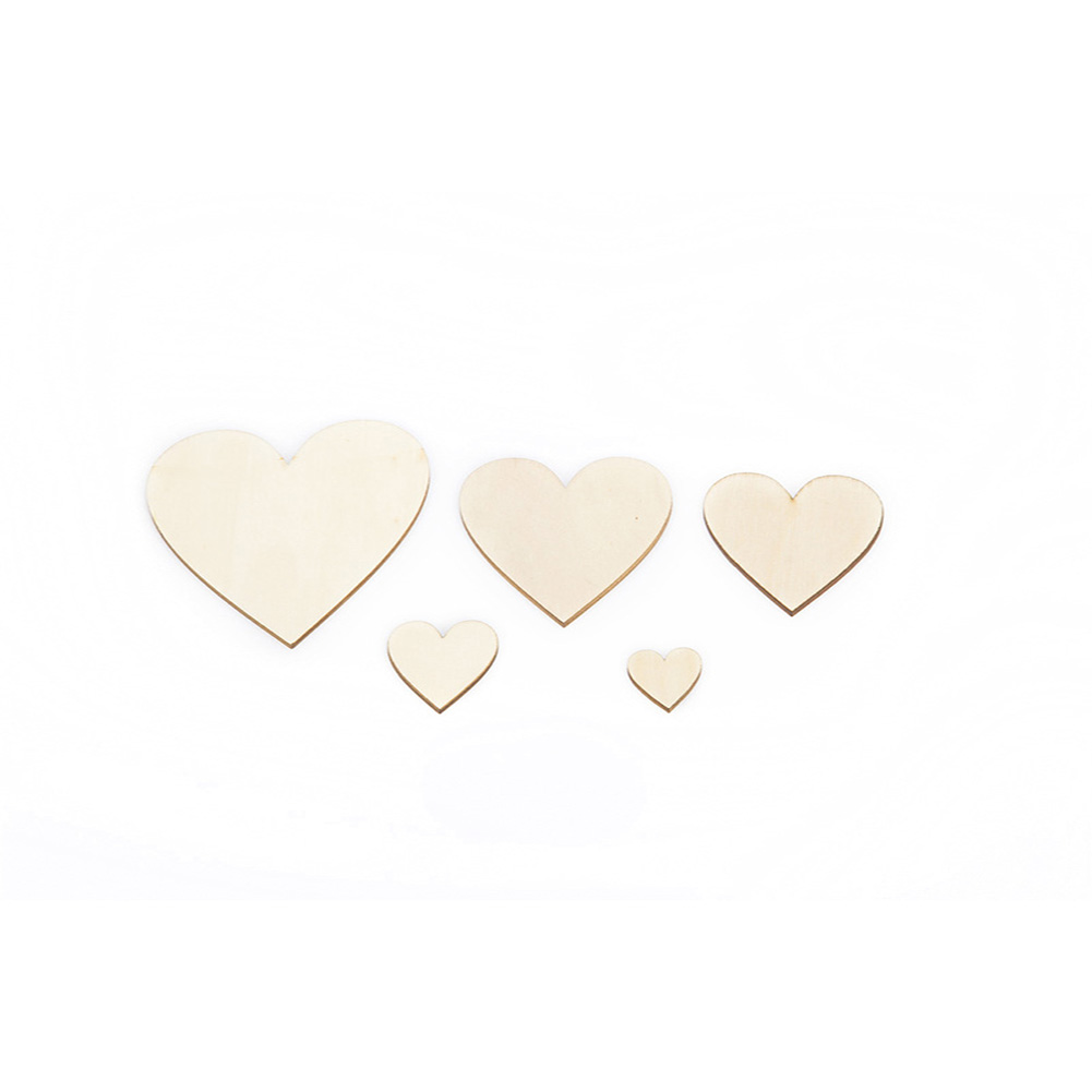 100PCS/Lot Heart Shape Natural Wooden Home Decoration Blank Unfinished DIY Craft Supplies Wooden ScrapBooking Craft Wedding Decoration фото