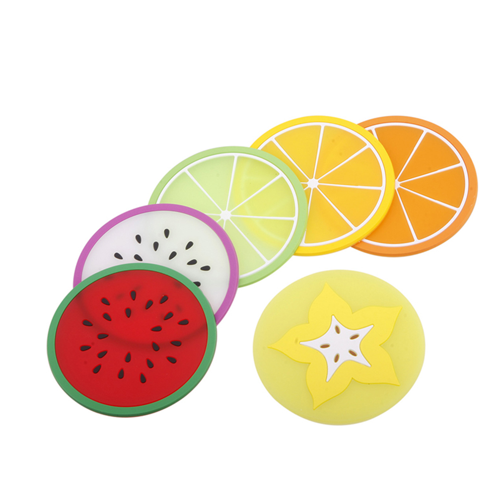 Cup Coaster Summer Fruit Shape Silicone Cup Mat Anti-Slip Thermal Insulation Pad Cup Holder Pad Hot Drink Holder фото