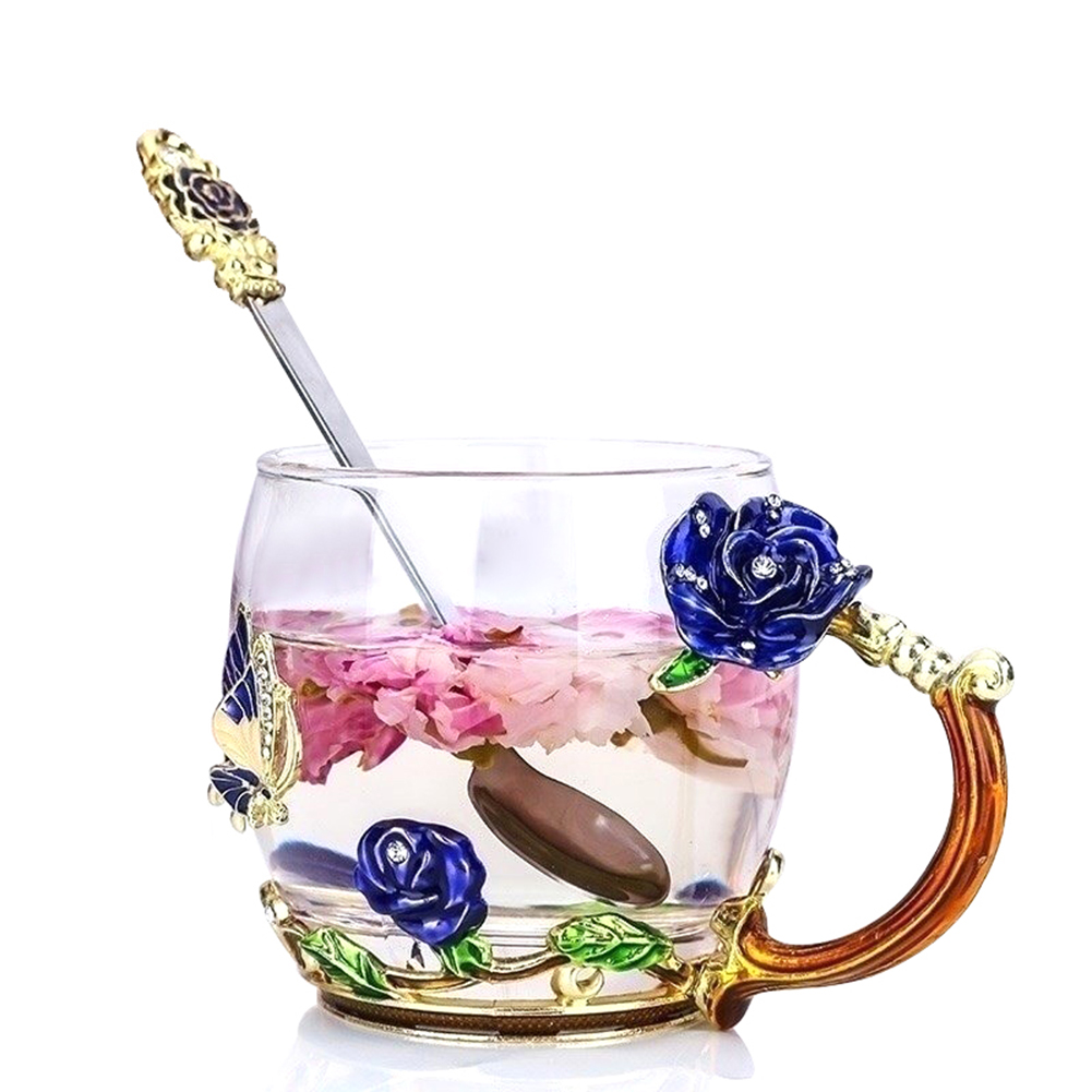 Enamel Transparent Glass Cup Coffee Tea Mug Blue Rose Heat-Resistant Cup Set with Stainless Steel Spoon and Free Coaster and Wipe Cloth Gifts фото