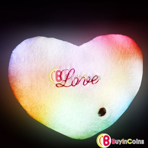 Romantic 7 Color LED Light Changing Flashing Fluffy Cushion Throw Heart Pillow фото