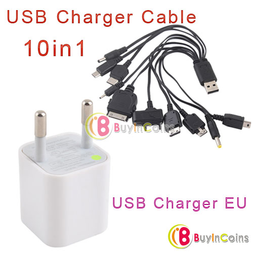 Apple USB Charger EU + 10in1 Universal USB Charger Cable for Cel фото