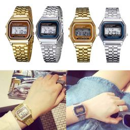 Elegant Mens Womens Retro Stainless Steel LCD Digital Sports Stopwatch Watch