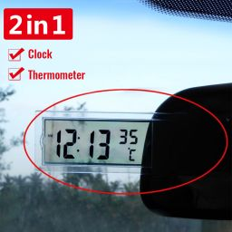 2 In 1 Automobile Car Clock LCD Digital Thermometer Sucker Type Clock  Transparent